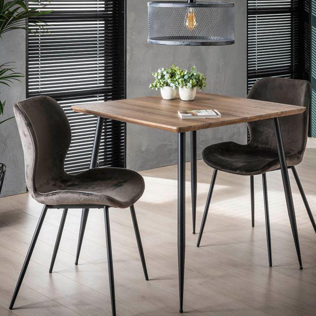 Nouvomeuble Petite table carrée couleur chêne et métal Joan