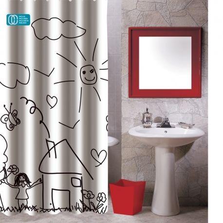 msv rideau de douche polyester 180x200 jardin d 39 enfant pas cher achat vente rideaux douche. Black Bedroom Furniture Sets. Home Design Ideas