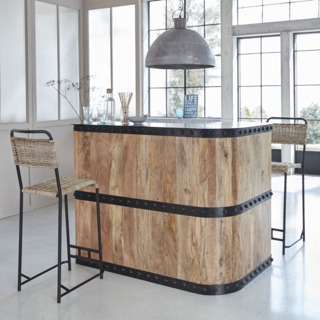 Made In Meubles Bar En Angle Industriel Bois Et Metal Mk50 B Pas Cher Achat Vente Bars Rueducommerce