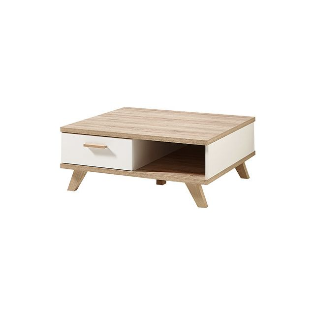 Table basse 80x33x80cm - décor chêne
