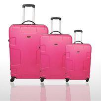 Travel Land - Set de 3 valises légères et robustes Trolley coque rigide Abs 4 Roues - Rose