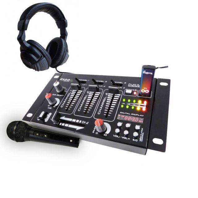Ibiza Sound Pack table de mixage 4 voies 7 entrées Usb + casque + micro noir