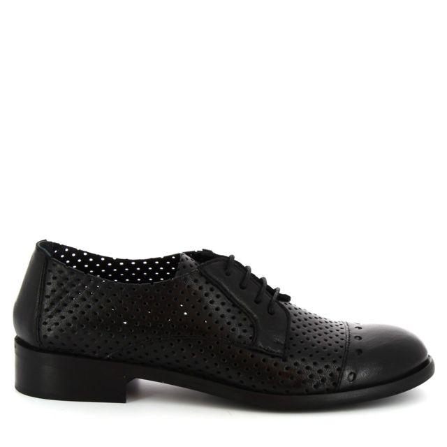 Leonardo Shoes Femme 4641ROKBLACK Noir Cuir Chaussures À Lacets