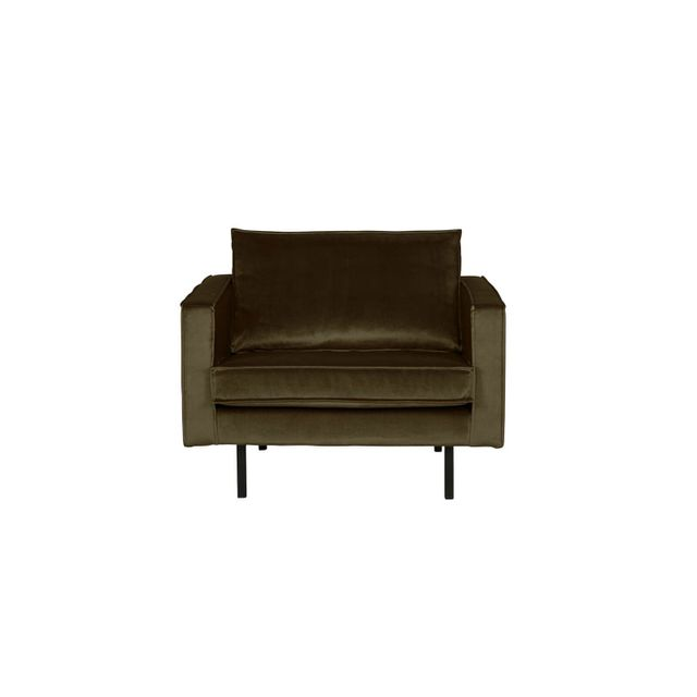 BEPUREHOME Fauteuil en velours vert chaud - Collection Rodeo - Be Pure Home