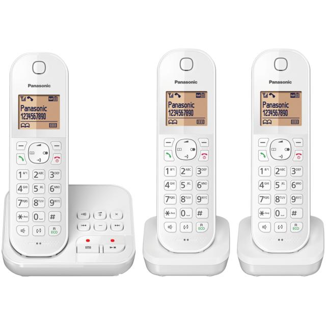 panasonic t l phone fixe sans fil avec r pondeur kx tgc423frw trio blanc pas cher. Black Bedroom Furniture Sets. Home Design Ideas