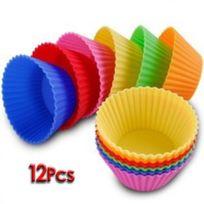 Générique - 12Pcs Moule En Silicone Pour Muffins, Cupcake, Gâteau Rond Et Gelée