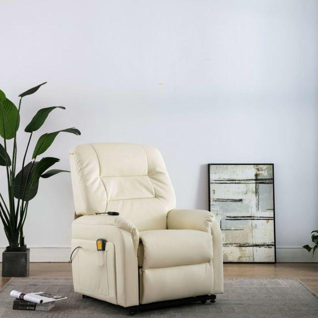 Icaverne Fauteuils électriques serie Fauteuil inclinable de massage TV électrique Crème Similicuir