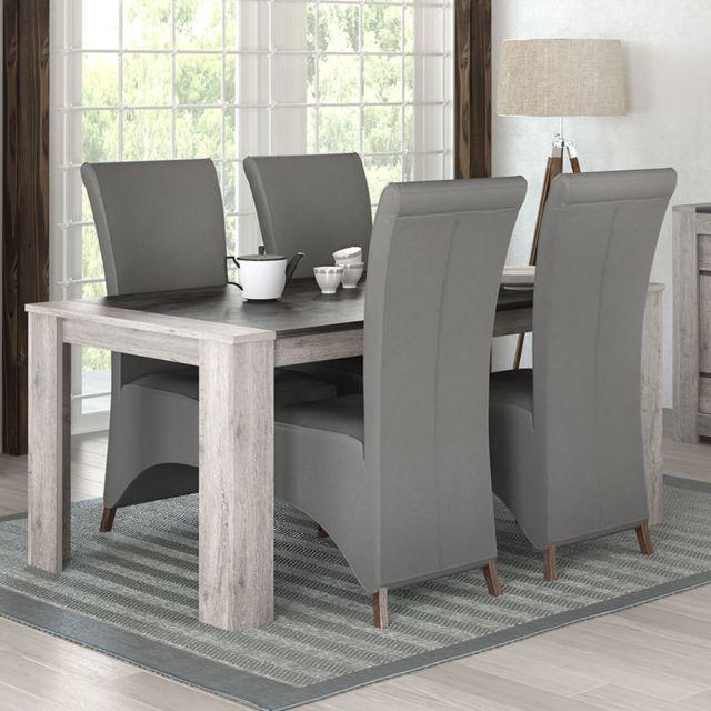 Kasalinea Table moderne 180 cm couleur chêne gris Angus