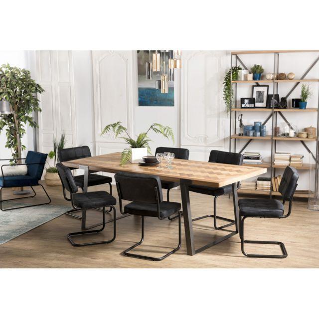 Macabane Table à manger 220x100cm Sapin et métal