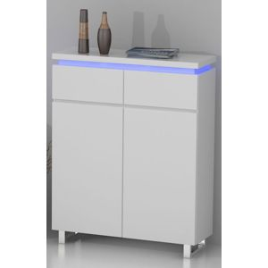 miliboo - meuble d'appoint d'entrée design laqué blanc et led voka ... - Meuble Entree Design Pas Cher