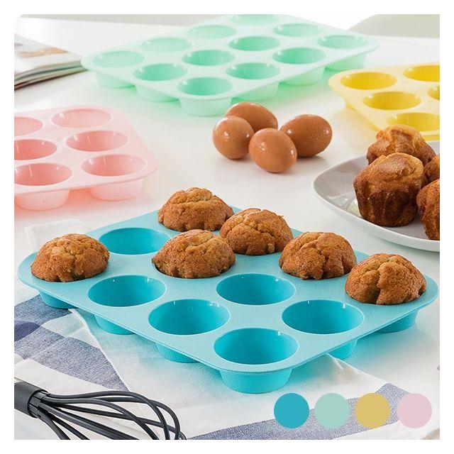 Totalcadeau Moule pour madeleines en silicone 12 portions, Couleur - Jaune