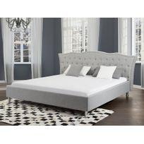 Beliani - Lit design en tissu - lit double 160x200 cm - gris - sommier inclus - Metz