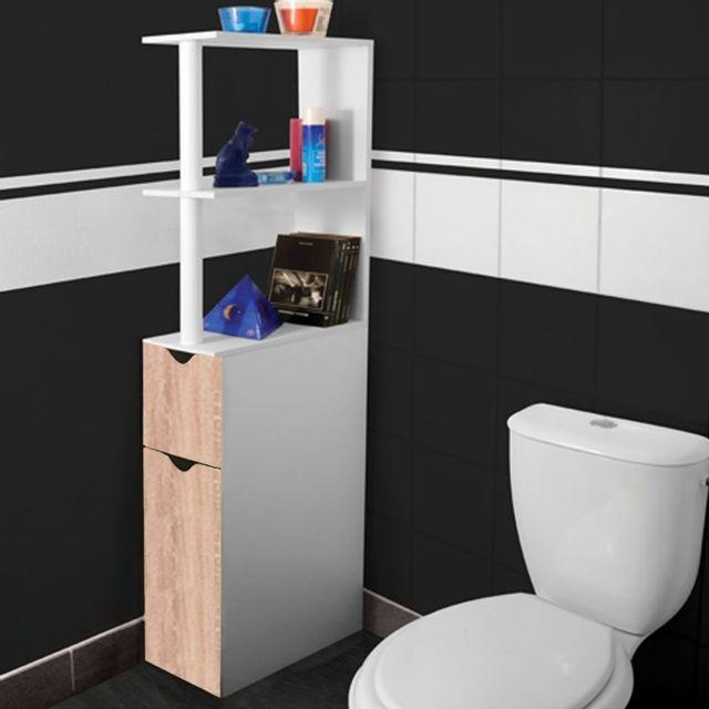 Idmarket meuble wc tag re bois gain de place pour toilette 2 portes h tre pas cher achat - Meuble gain de place pas cher ...