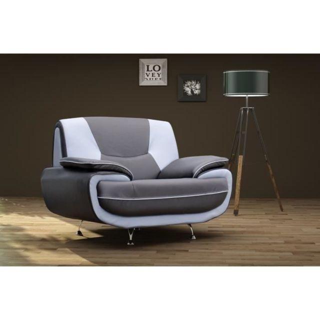 FAUTEUIL SPACIO Fauteuil contemporain en simili - Noir et gris - L 134 x P 85 cm