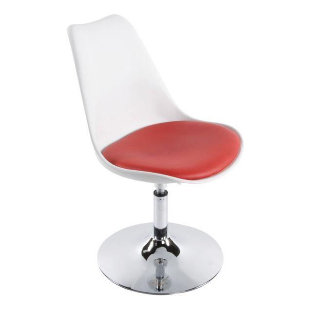 Autre - Chaise design 48x54x85cm Vic - rouge Blanc et rouge
