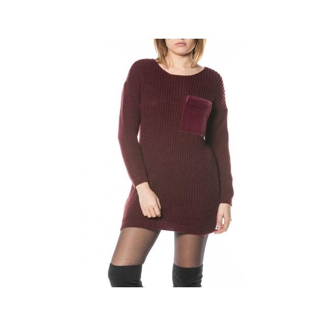 c73b065f432 Princesse Boutique - Robe pull Bordeaux avec poche en fausse fourrure