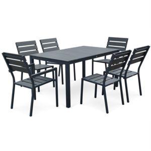 alice 39 s garden salon de jardin monaco en bois composite et aluminium table 150cm 4 chaises. Black Bedroom Furniture Sets. Home Design Ideas