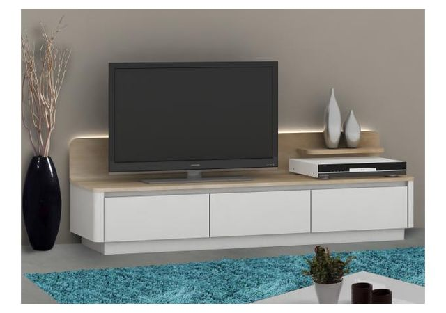 Declikdeco Meuble Tv 3 Tiroirs Avec Led Atlas Blanc Marron Pas