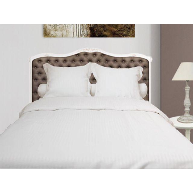 eden parure de housse de couette 240x220 cm en percale satin coloris blanc 220cm x 240 cm. Black Bedroom Furniture Sets. Home Design Ideas