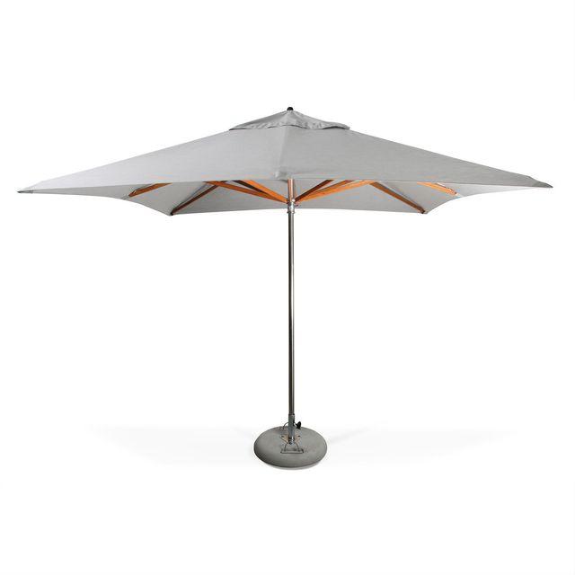 ALICE'S GARDEN Parasol très haut de gamme carré SeaPoint 3x3m Gris clair chiné Inox et bois Ouverture automatique