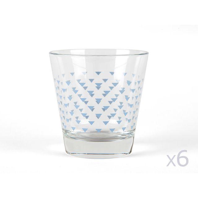 Kaligrafik Verres à eau motifs triangle bleu givré- Lot de 6 pièces Nordic - Bleu givré