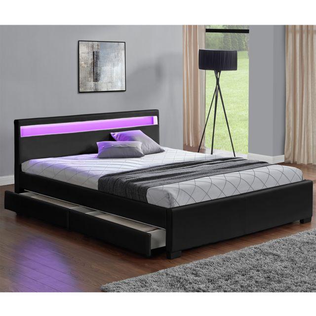 CONCEPT USINE Lit Enfield Noir Tête De Lit LED Et Rangements - Tete de lit tiroir