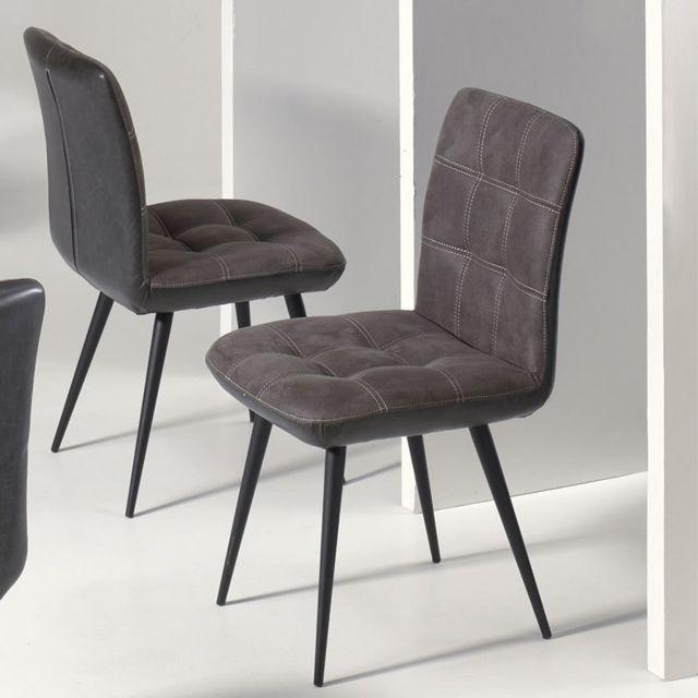 Nouvomeuble Chaise design grise Chelsea lot de 2 pas
