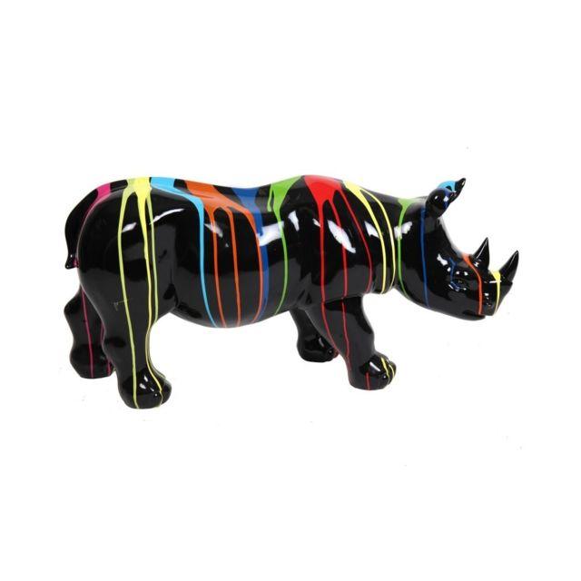 Multideco Statue rhinocéros multicolore fond noir en résine - 100 cm