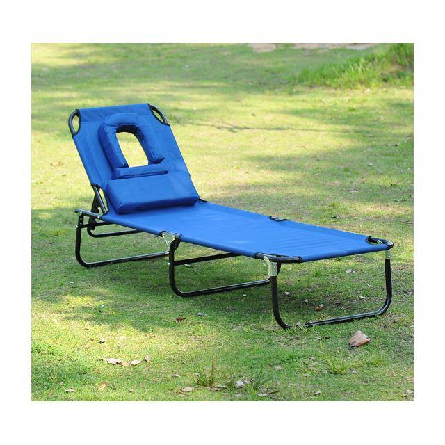 Homcom transat de jardin chaise longue pliante bain de soleil pour lecture bleu 40