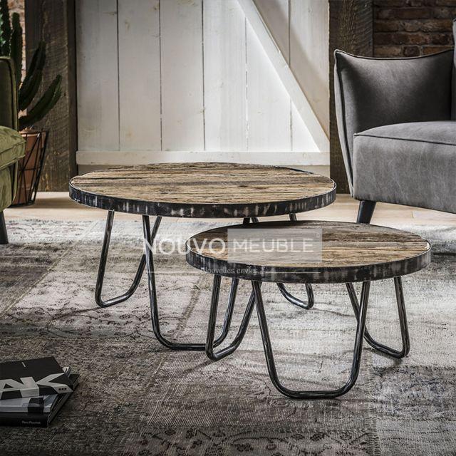 Nouvomeuble Tables basses en bois et métal Canyon