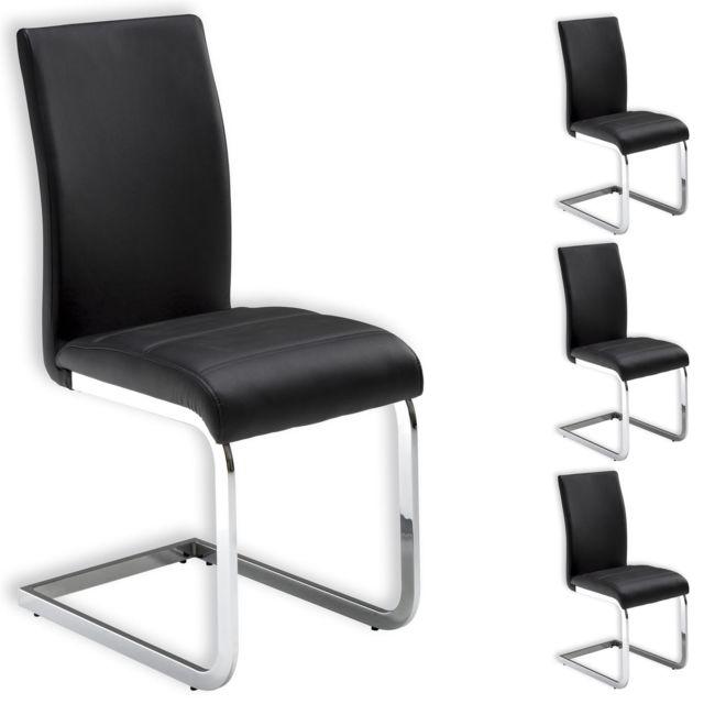 Chaise Noir Salle A Manger.Lot De 4 Chaises De Salle A Manger Leticia Pietement Chrome Et Revetement Synthetique Noir