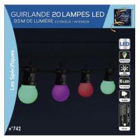 Jja - Guirlande extérieur 20 ampoules 120 Led multicolores