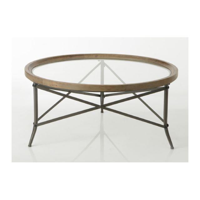HELLIN Table basse ronde en bois et plateau verre - CADOUE