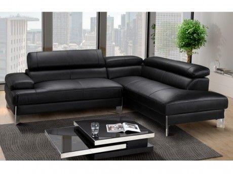 Vente-unique Canapé d'angle en cuir Littoral - Noir- angle droit