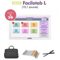 FACILOTAB - Pack L 10,1 pouces WiFi/3G+ - 32 Go - Android 7 + Support + Sacoche + 2 Stylets Tablette simplifiée pour Seniors