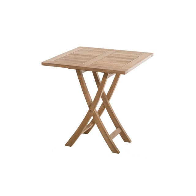 Table carrée pliante en teck 70 cm