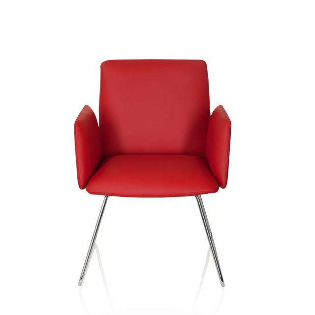 Hjh Office Chaise visiteur / chaise au piètement traîneau Designia V similicuir rouge