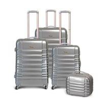 Kinston - Bagage Lot de 3 Valises + Vanity - Rigide - 4 Roues - Argent