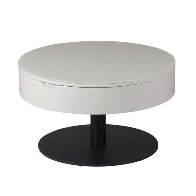 Tousmesmeubles Table basse ronde relevable Gris clair/Anthracite mat - Aonang