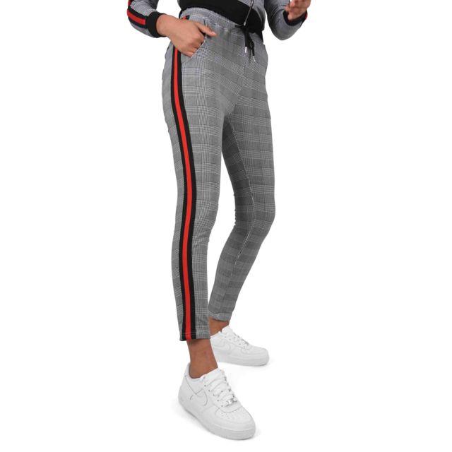 Project X - Pantalon ajusté imprimé pied-de-poule et rayure à bandes  bicolores acc8119590a6