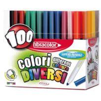 Fibracolor - feutre coloriage pointe large - presentoir de 100
