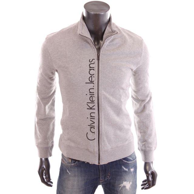 43d647cc2c1 Calvin Klein - Gilet zippé gris homme Cmq141 - pas cher Achat   Vente Gilet  homme - RueDuCommerce