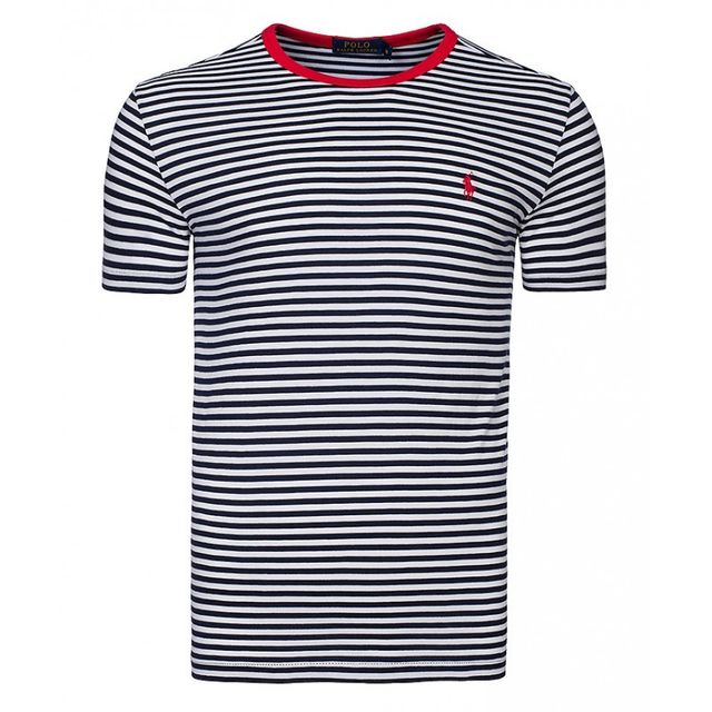 code promo bdfbc 4ac35 Ralph Lauren - T-shirt rayé ajusté bleu blanc Taille Xl ...