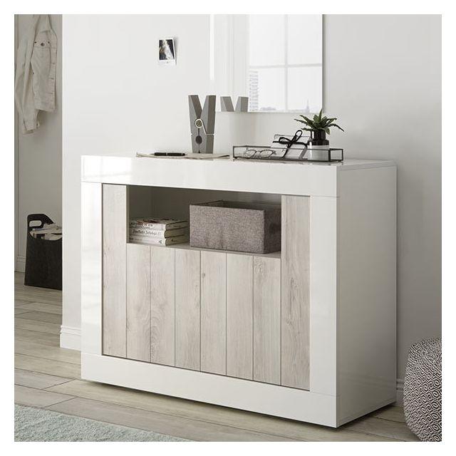 Nouvomeuble - Petit Meuble d\'entrée blanc laqué moderne 110 cm, 2 ...