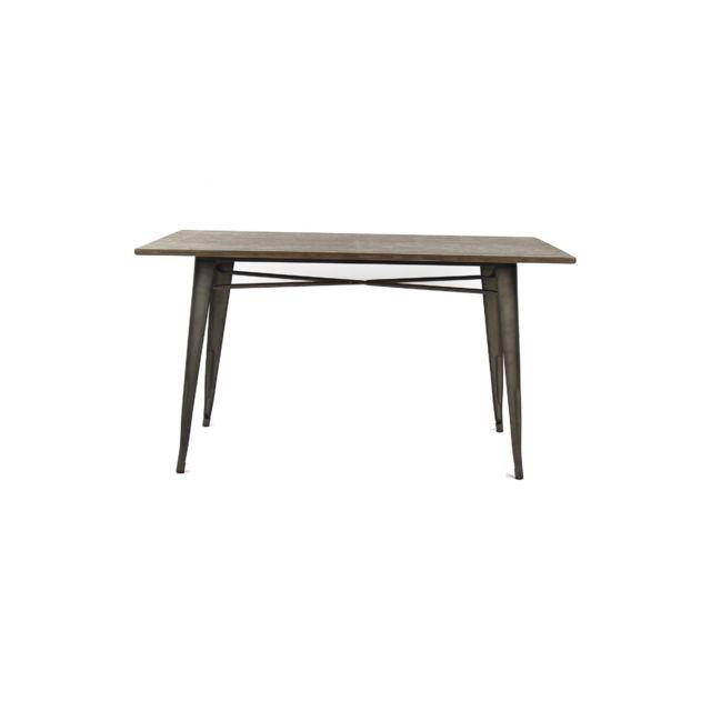 HELLIN Table rectangulaire en métal et bois - LITO