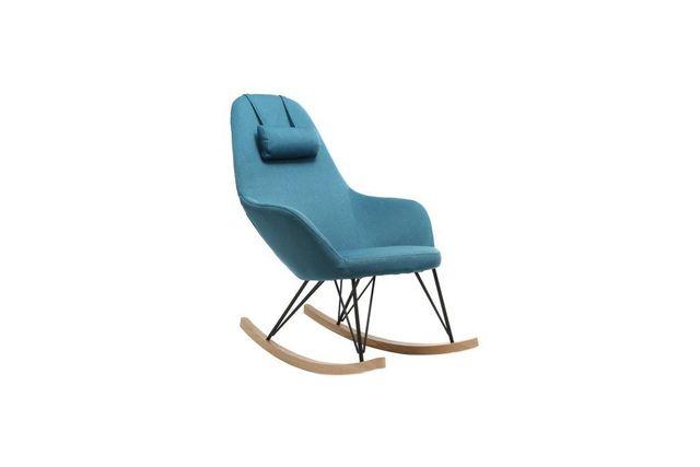Miliboo Fauteuil relax - Rocking chair tissu bleu pétrole pieds métal et frêne Jhene