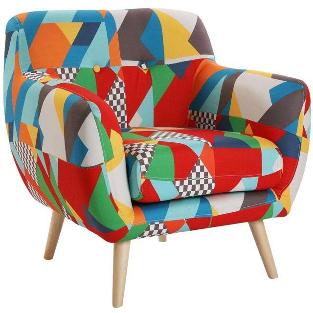 VERSA Fauteuil salon en tissu mélanges de couleurs Brais