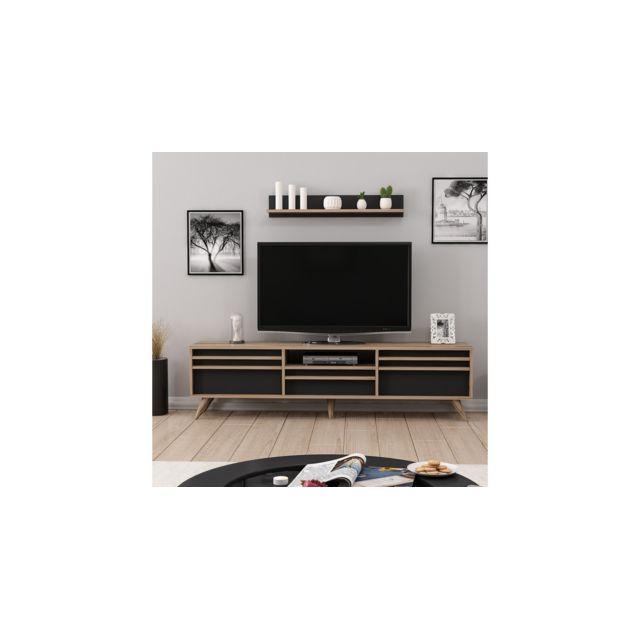 Homemania Meuble Tv Hira Moderne - avec Portes, Étagères - pour Salon - Noyer, Noir en Bois, 180 x 35 x 48 cm