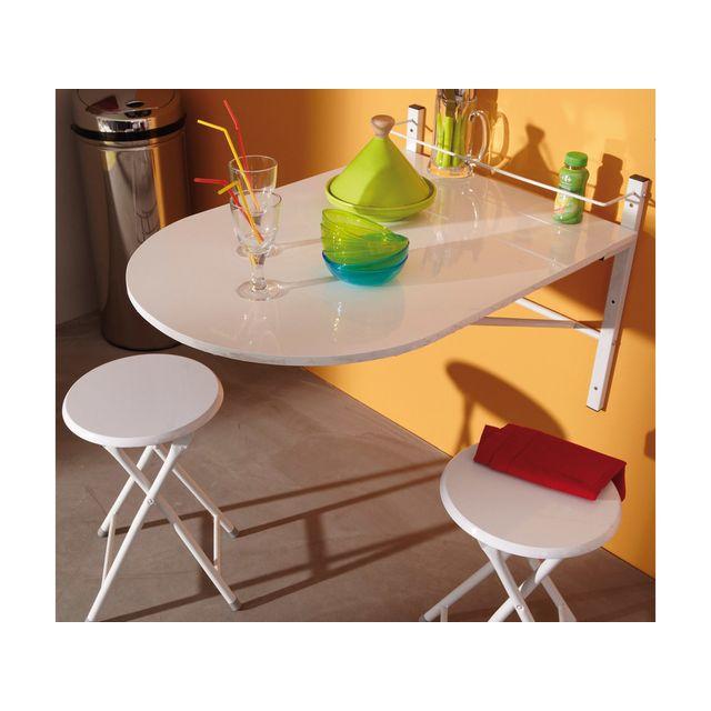 Marque generique table de cuisine pliable 2 tabourets bois pvc blanc snow sebpeche31 - Table de cuisine pliable ...