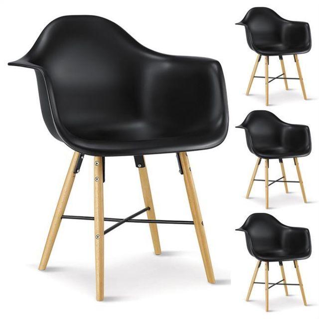 Idimex - Lot de 4 chaises Emilio noires